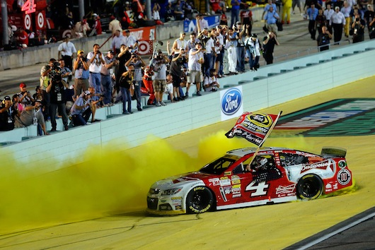 Kevin Harvick after the NASCAR Sprint Cup Series Ford EcoBoost 400 at Homestead-Miami Speedway on November 16, 2014 in Homestead, Florida. (Image @2014 NASCAR.)
